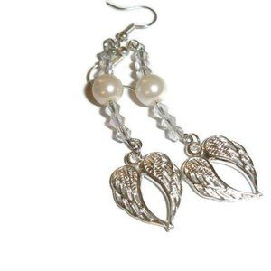 Crystal Angel wing earrings silver angel wings